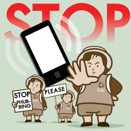Stop Phubbing Campaign : This vector present for Resist Smartphone in public. Illustration