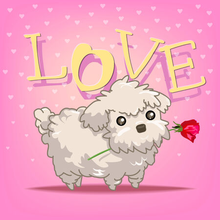 Illustrated vector present the pet dog want to give rose in mouth to gift for love