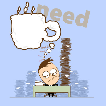 tried: Business man has more jobs, He works hard overlap relax time, He tried and need some coffee now. Illustration