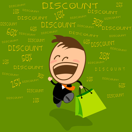 gleeful: Festival SALE in department stores. Young businessman cute Happy to be shopping in the festival. Illustration