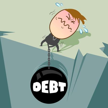 Cute character businessman has many debt, it