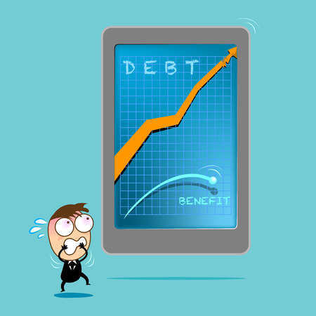 Stressful businessman looking debt arrow statistic going higher than profit from the screen of smart phone. Business concept in debt.