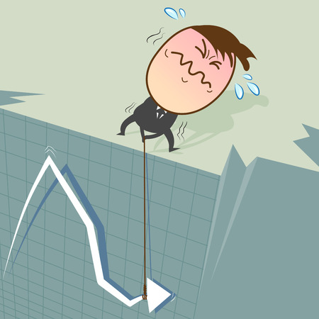 perspiration: When stocks fall on the curve, it will plummet from a high cliff. Businessman trying to find a way to make the stock has increased. Illustration