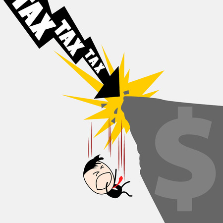 financial cliff: Cute character business man falling down from the cliff because of Tax attacking to him, representing with thunder. Tax burden concept.