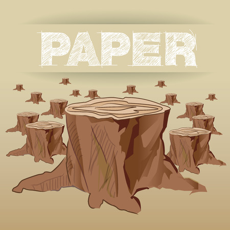 Graphic present Eco concept Paper is made with tree Illustration