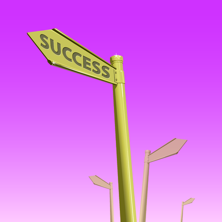 Sign direct link to success and succeed on pink gradient background.. Illustration