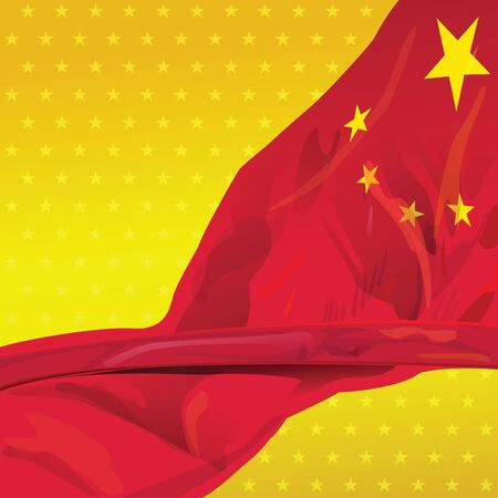 national holiday: Represent CHINA flag for design element of great power country. This vector file is organized in layers to separate Graphic elements from white stars, shadows stars, halo and flag.