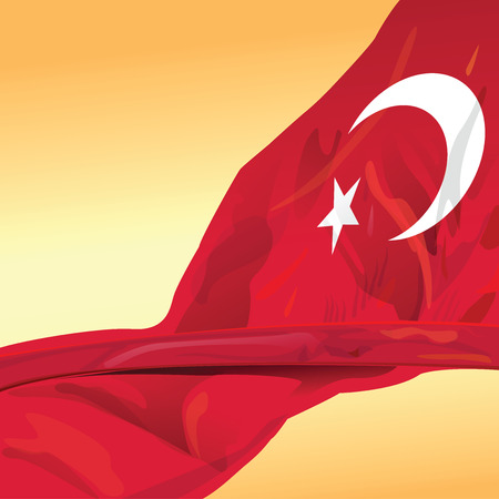 Represent Turkey flag for design element of great power country. This vector file is organized in layers to separate all graphic elements. Illustration