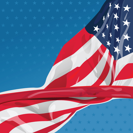 Represent United State of America with USA flag for design element. This vector file is organized in layers to separate Graphic elements from white stars, shadows stars, halo and flag.