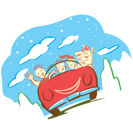 breezy: Cartoon for present travel in nature with car of family and pet.
