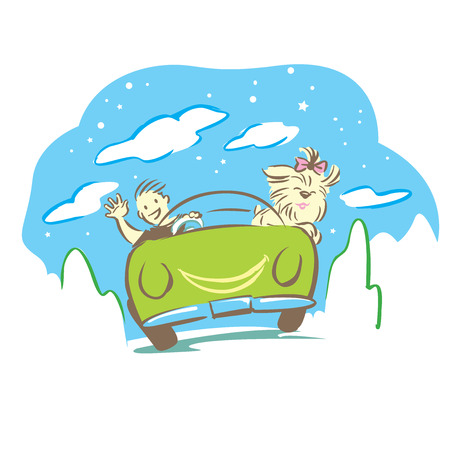 breezy: Cartoon for present travel in nature with car of boy and his pet.