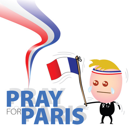 mingled: Cute businessman waving French flag and Tears mingled with sorrow, and hope to pray for France Illustration