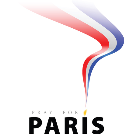 phrase Pray for Paris, with a candle for a prayer in the form of letters I letters. Chintz waving the French flag colors. Illustration