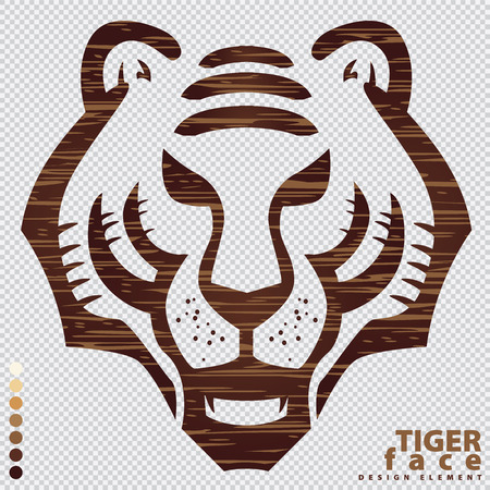 Illustrated vector Tiger face icon for design element, Present look like blank layer in Photoshop program.