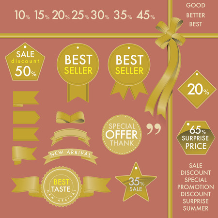 Vector element design set of golden commercial labels and ribbon templates on best seller concept. This vector file is organized in layers to separate Graphic elements from Text, label and background color.