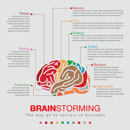 Infographic of business go to success with Brainstorming sprit color. Illustration