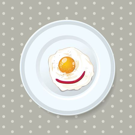 Best food present for Fried egg on a white dish served everyday in the morning. and split layer with egg, dish and background.