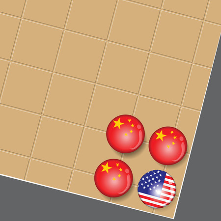The storm of Business attacked USA economic from China. Metaphors look like this Go Game.