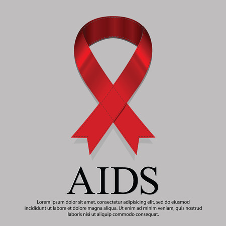 representative: Every day on 1 December is World AIDS day. Illustration representative with red ribbon mourning sign on News page.