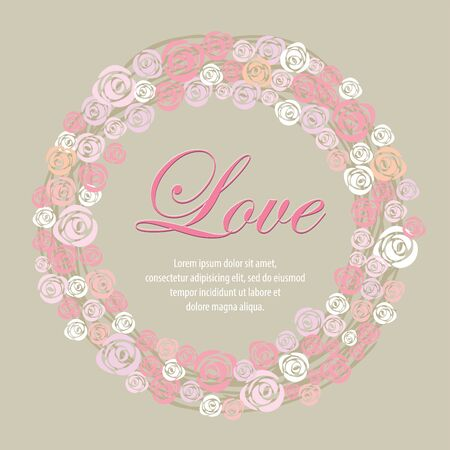 Design the Valentine greeting card represent with wreath of rose.