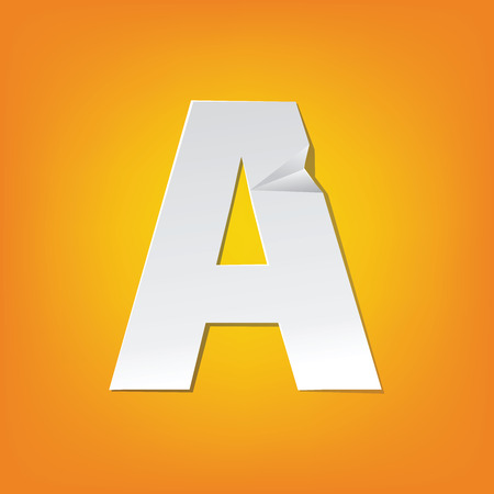 The new design of the English alphabet, A uppercase was folded paper some of the letters.