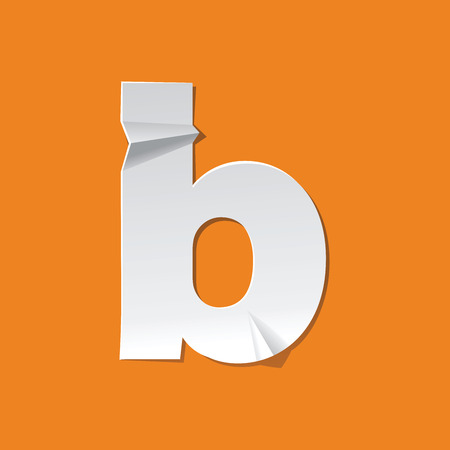 The new design of the English alphabet, b Lowercase letter was folded paper some of the letters. Illustration
