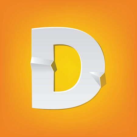 The new design of the English alphabet, D capital letter was folded paper some of the letters.