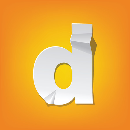 The new design of the English alphabet, d Lowercase letter was folded paper some of the letters.