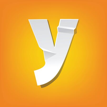 The new design of the English alphabet, y Lowercase letter was folded paper some of the letters. Adapted from the font Myriad Pro extra bold. Illustration