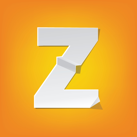 The new design of the English alphabet, Z capital letter was folded paper some of the letters.