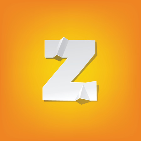 The new design of the English alphabet, z Lowercase letter was folded paper some of the letters.