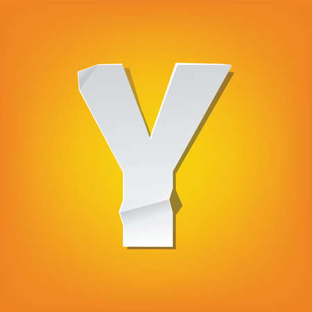 The new design of the English alphabet, Y capital letter was folded paper some of the letters. Illustration