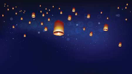 Khom loyor floating lanterns into the night sky. Thai people believed that misfortune will fly away with the lanterns, and they like done all festival at night. Sometime belief this activities is sending souls to heaven.
