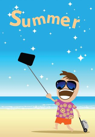 Cute man is vacation time with travel and selfie on the beach. The background is clear sea water. Illustration