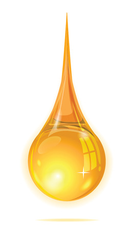 flaring: Drop gold oil for element design on white background Illustration