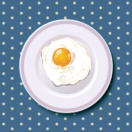 Best food present for Fried egg on a laver dish served everyday in the morning. and split layer with egg, dish and sea blue cloth background.