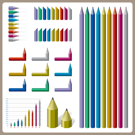 Design element pencils for present infographic of status and goal achievement in graph.