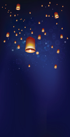 Khom loy or floating lanterns into the night sky. Illustration