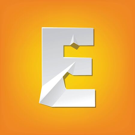 pealing: The new design of the English alphabet, E capital letter was folded paper some of the letters. Adapted from the font Myriad Pro extra bold. Illustration