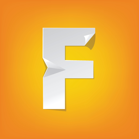 The new design of the English alphabet, F capital letter was folded paper some of the letters. Adapted from the font Myriad Pro extra bold. Illustration