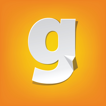 The new design of the English alphabet, g Lowercase letter was folded paper some of the letters. Adapted from the font Myriad Pro extra bold.