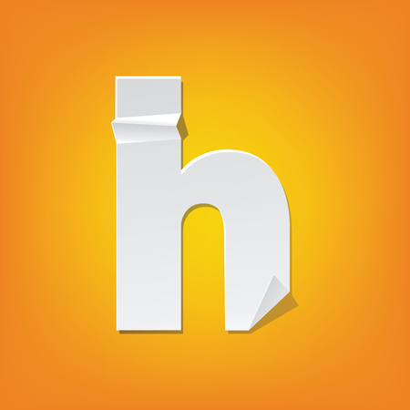 The new design of the English alphabet, h Lowercase letter was folded paper some of the letters. Adapted from the font Myriad Pro extra bold.