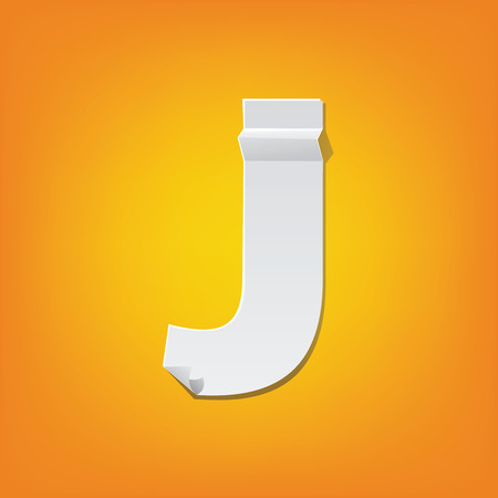The new design of the English alphabet, J capital letter was folded paper some of the letters. Adapted from the font Myriad Pro extra bold.