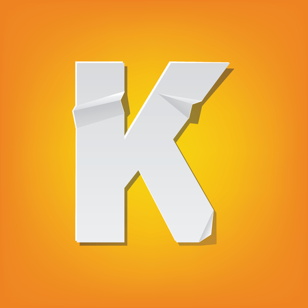 The new design of the English alphabet, K capital letter was folded paper some of the letters. Adapted from the font Myriad Pro extra bold. Illustration