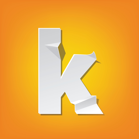The new design of the English alphabet, k Lowercase letter was folded paper some of the letters. Adapted from the font Myriad Pro extra bold.