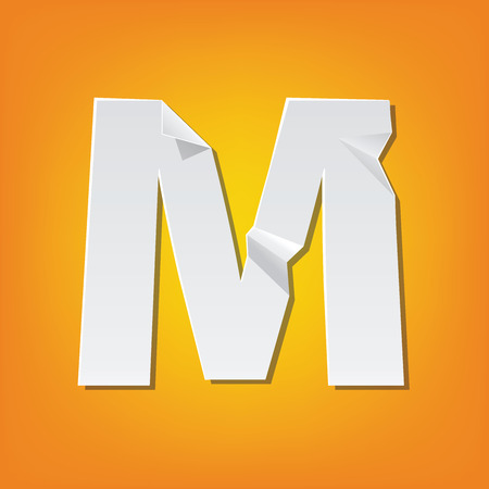 The new design of the English alphabet, M capital letter was folded paper some of the letters. Adapted from the font Myriad Pro extra bold.