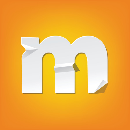 The new design of the English alphabet, m Lowercase letter was folded paper some of the letters. Adapted from the font Myriad Pro extra bold.