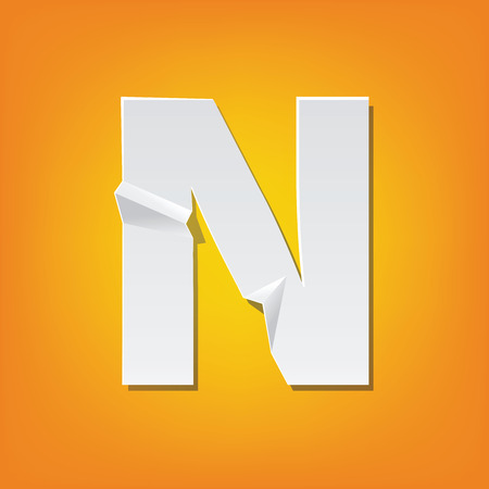 The new design of the English alphabet, N capital letter was folded paper some of the letters. Adapted from the font Myriad Pro extra bold.