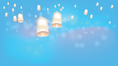 Khom loy�or floating lanterns into the sky. Thai people believed that misfortune will fly away with the lanterns, and they like done all festival. Sometime belief this activities is sending souls to heaven.Split layer in vector file.