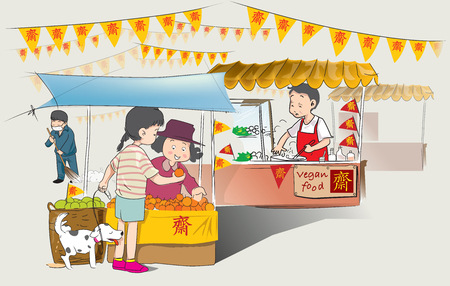 Every year on October has Chinese Vegetarian food festival at Market sidewalk street in Thailand. Which are sold on the sidewalk along the road. Stock Illustratie